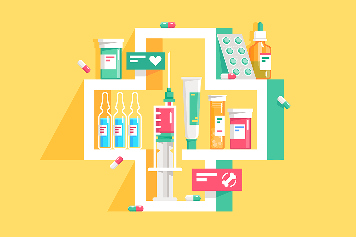 3d icon cross with flat pills, ampoule, syringe.