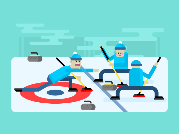 Curling winter game flat vector illustration