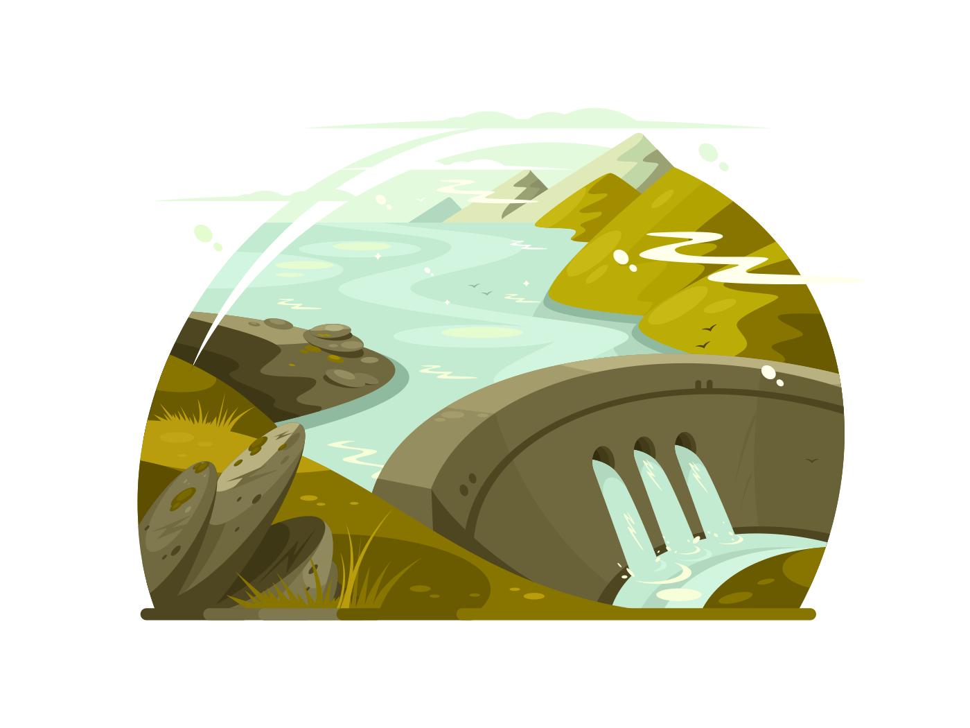 River huge dam illustration