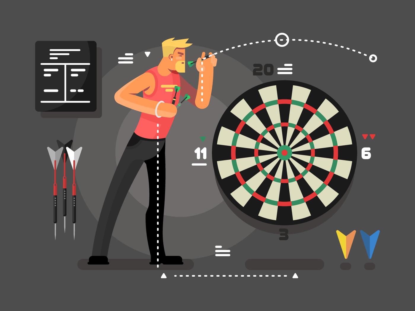 Man playing darts flat vector illustration