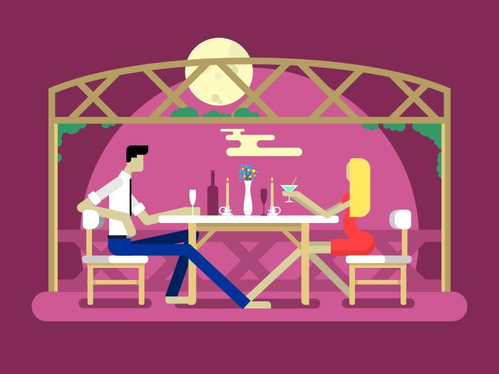 Romantic date design flat vector illustration