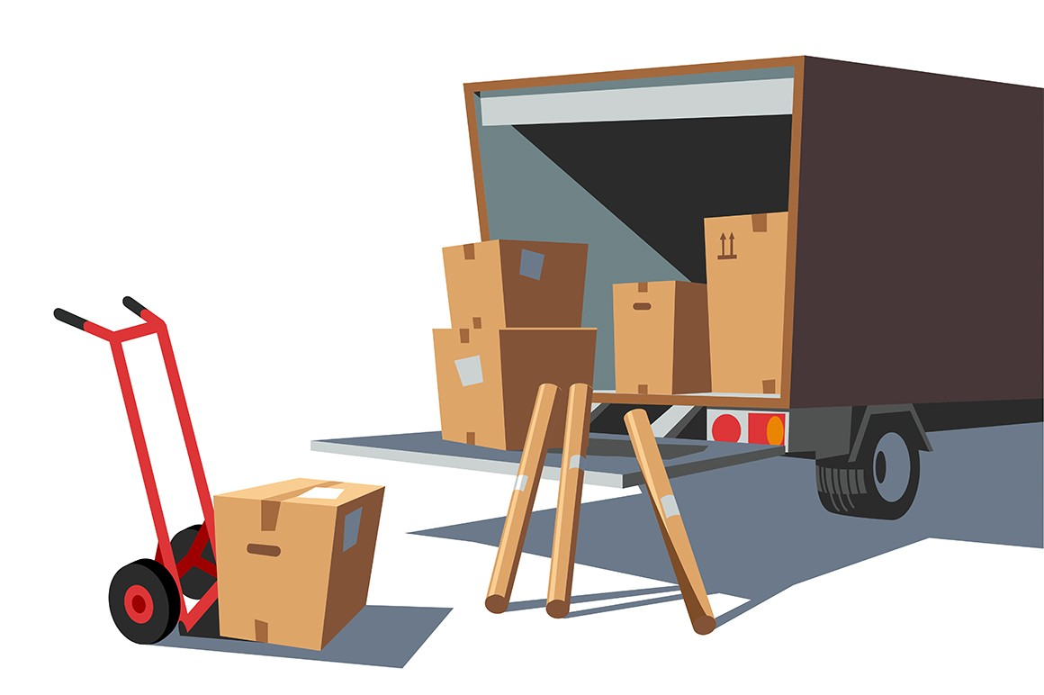 Delivery goods service vector illustration. Van with carton boxes and cart cardboard box flat style design. Express transportation and shipping. Logistics and postage concept