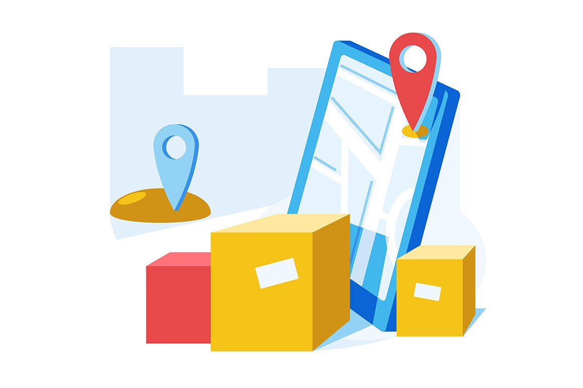 Online delivery service vector illustration. Location pin on city map. Smartphone screen with open geolocation app flat style design. Cardboard boxes and navigator isolated on white