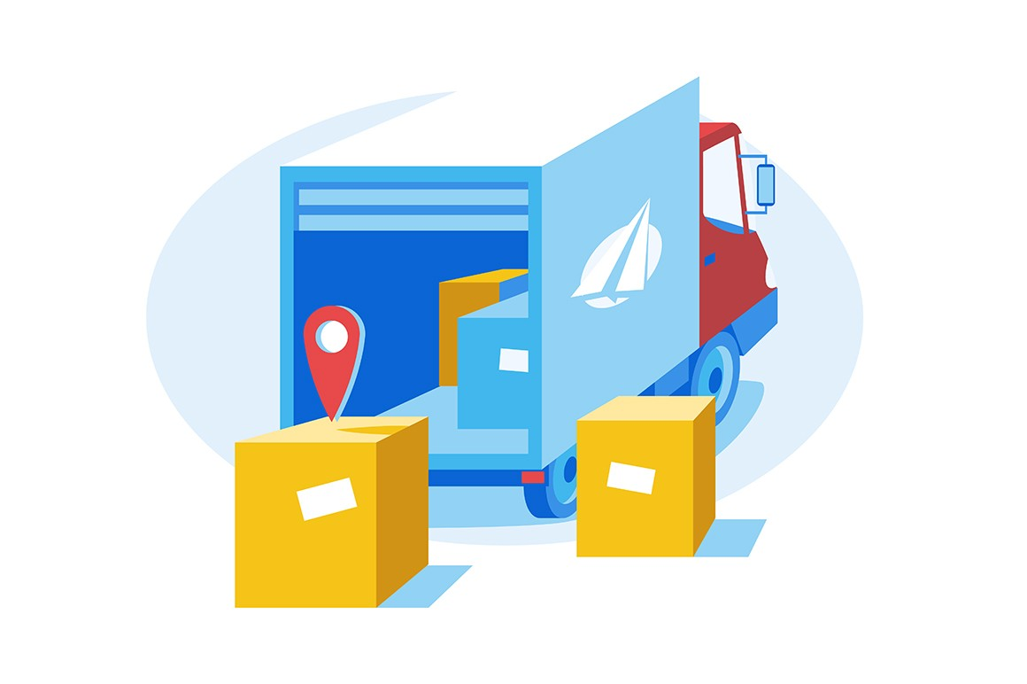 Express delivery service vector illustration. Truck with cardboard boxes and geolocation pin flat style design. Transportation, shipping. Logistics and postage concept