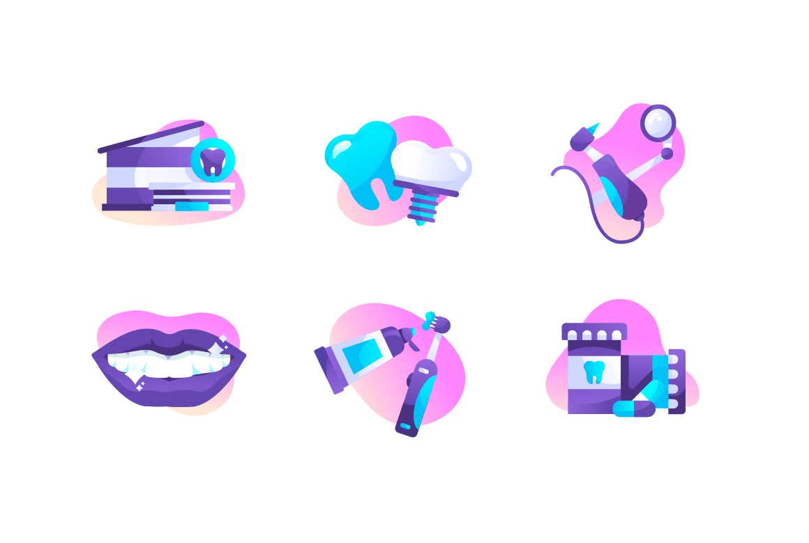 Set dental icons