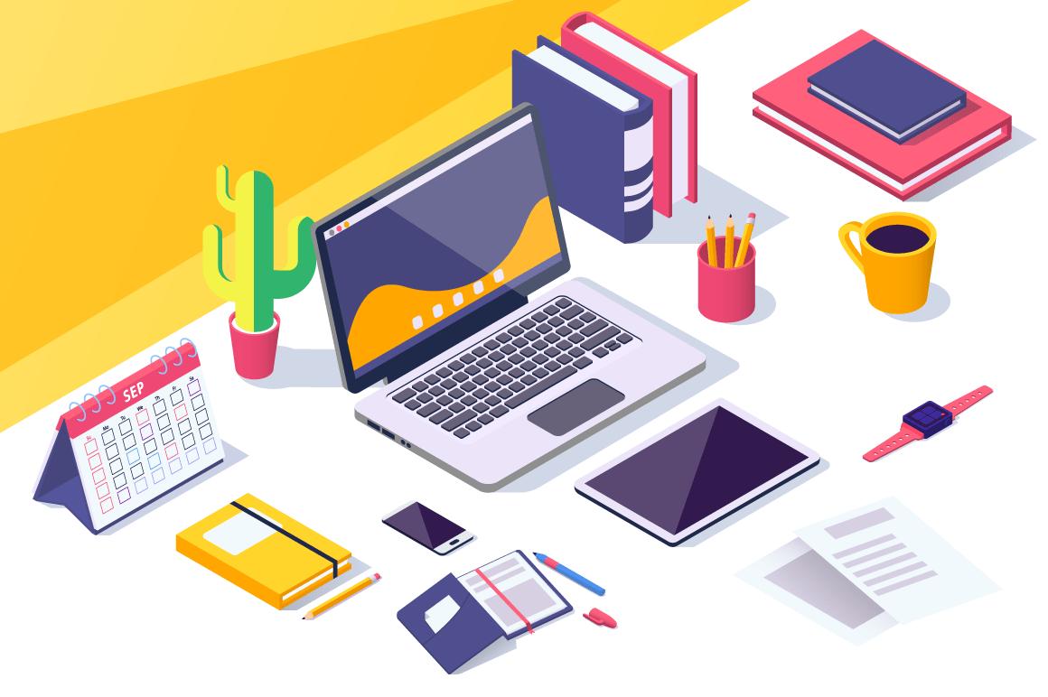 Flat desktop workspace with laptop, mobile phone, tablet, calendar.
