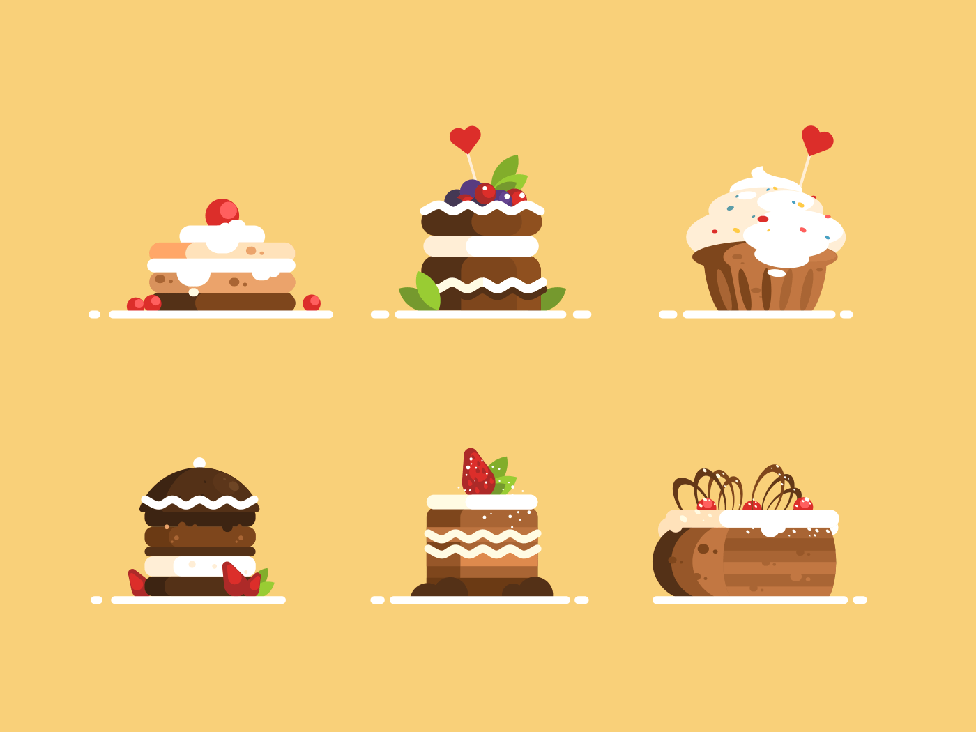Sweet desserts set. Cake with cream and berries flat style. Vector illustration