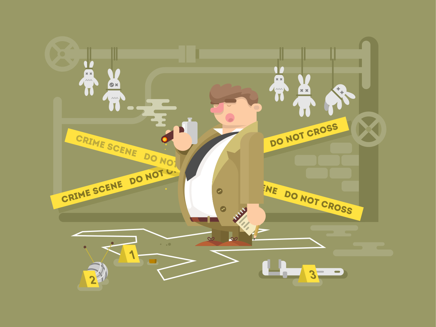 detective at the crime scene flat vector illustration