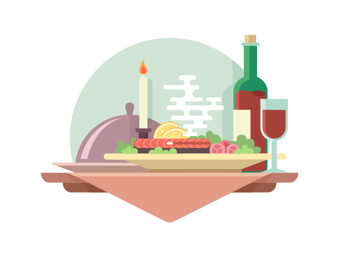 Dinner at restaurant flat illustration