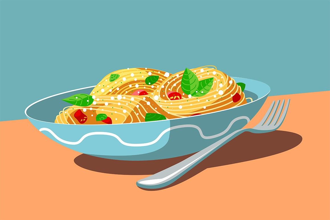 Dish with tasty meal and fork vector illustration. Plate with spaghetti, sliced tomatoes, basil and cheese flat style design. National italian cuisine concept
