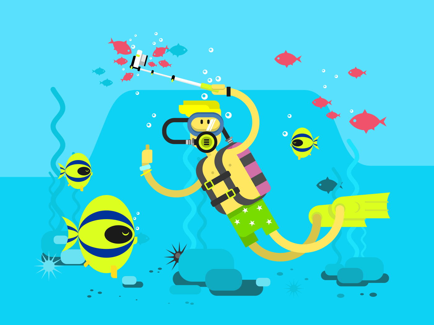 Diver character flat vector illustration