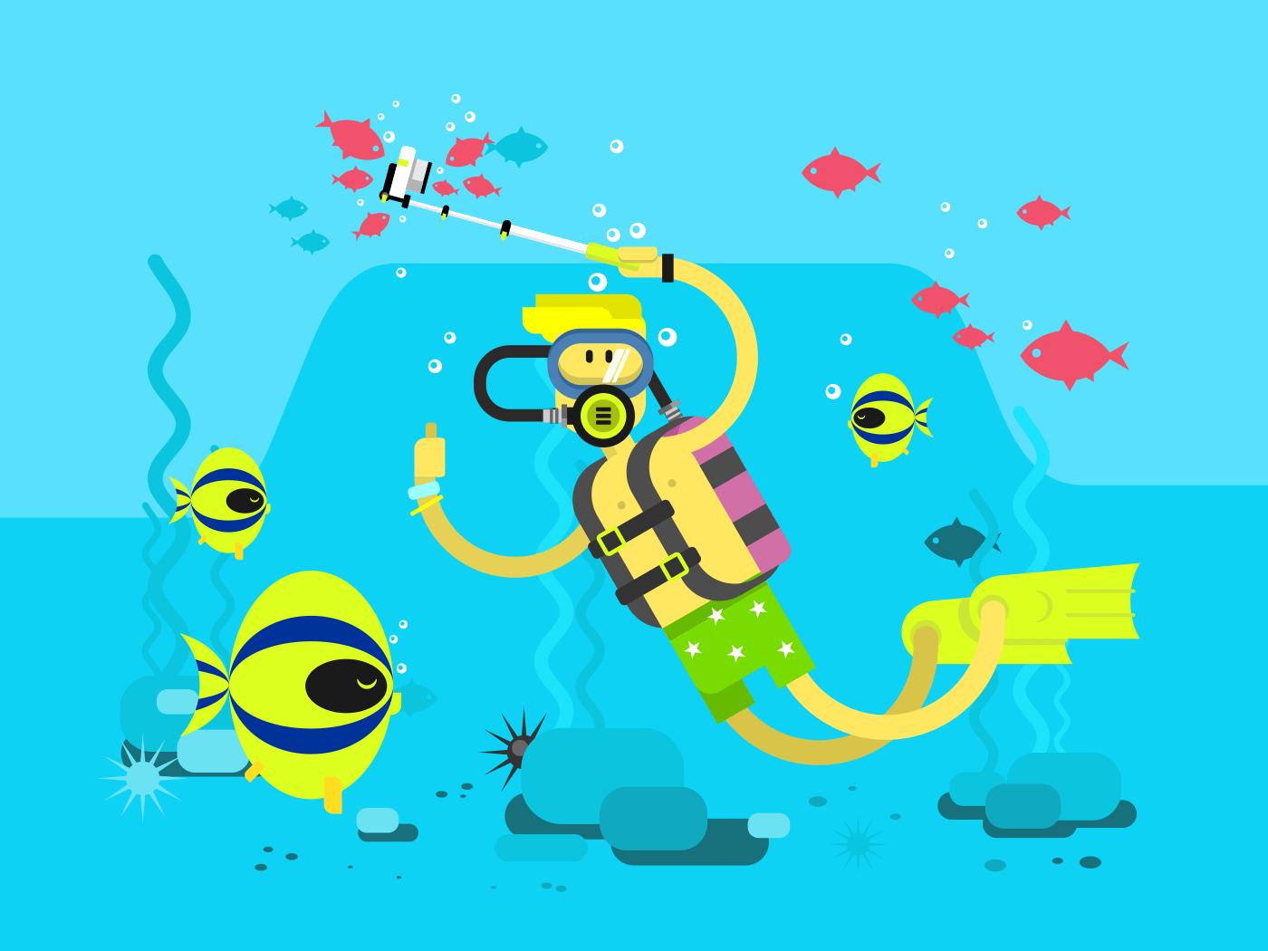 Diver character flat vector illustration