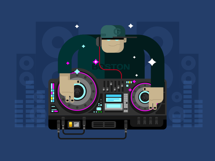 DJ music character flat vector illustration