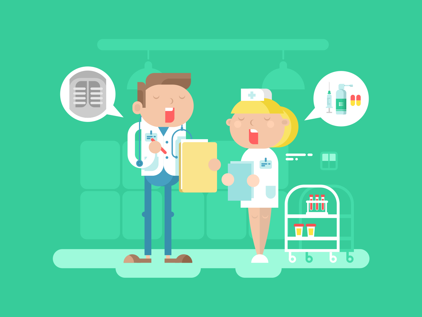 Doctor and nurse characters flat vector illustration