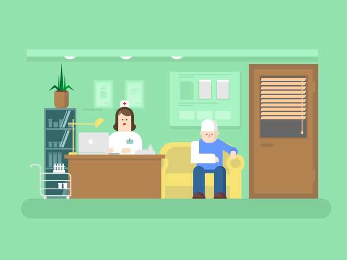 Reception of doctor in clinic flat vector illustration