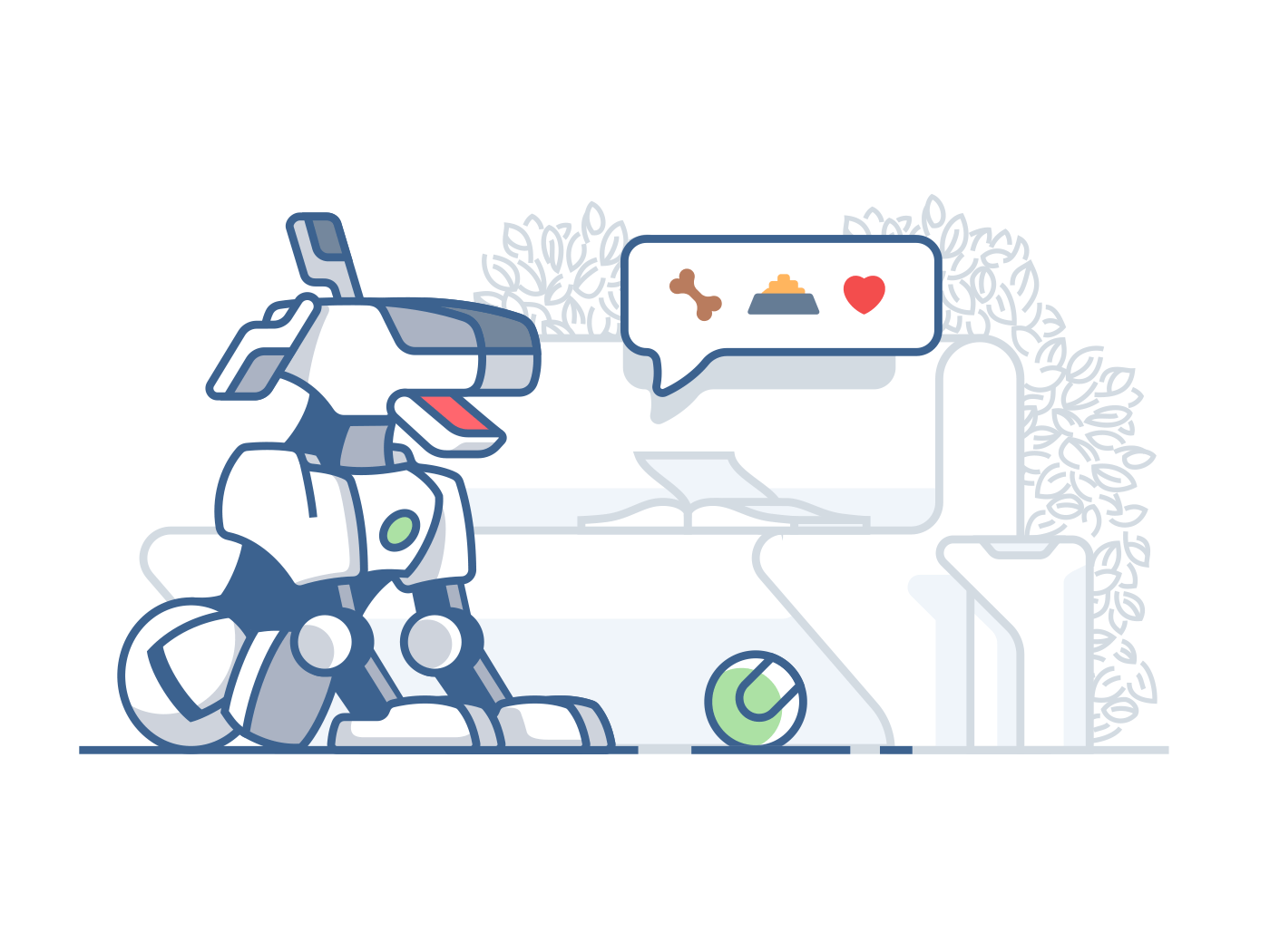 Modern dog robot. vector line illustration