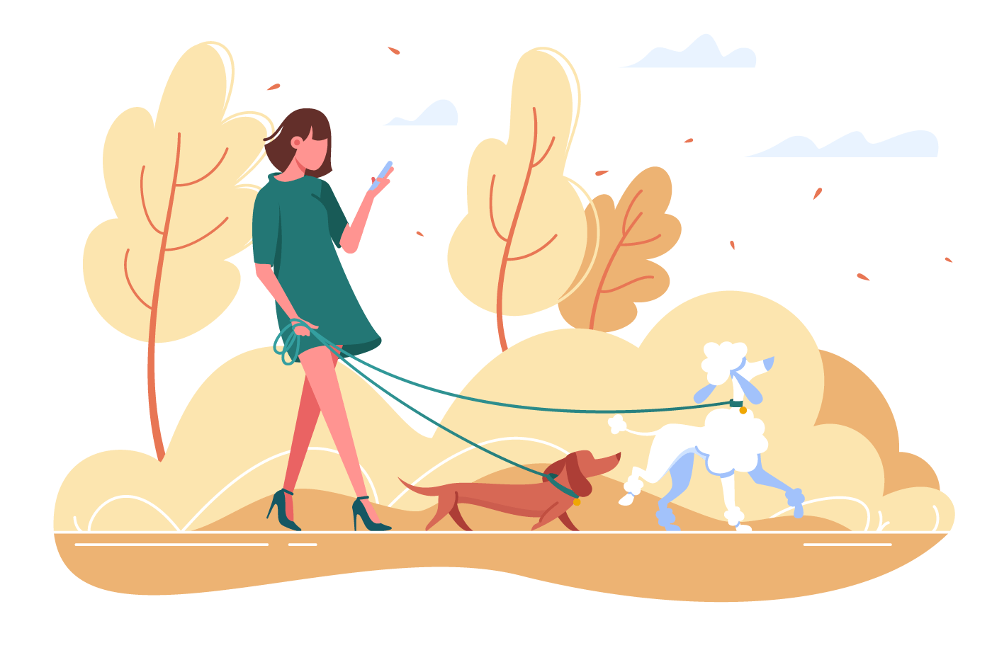 Young woman walks with dog through the woods.