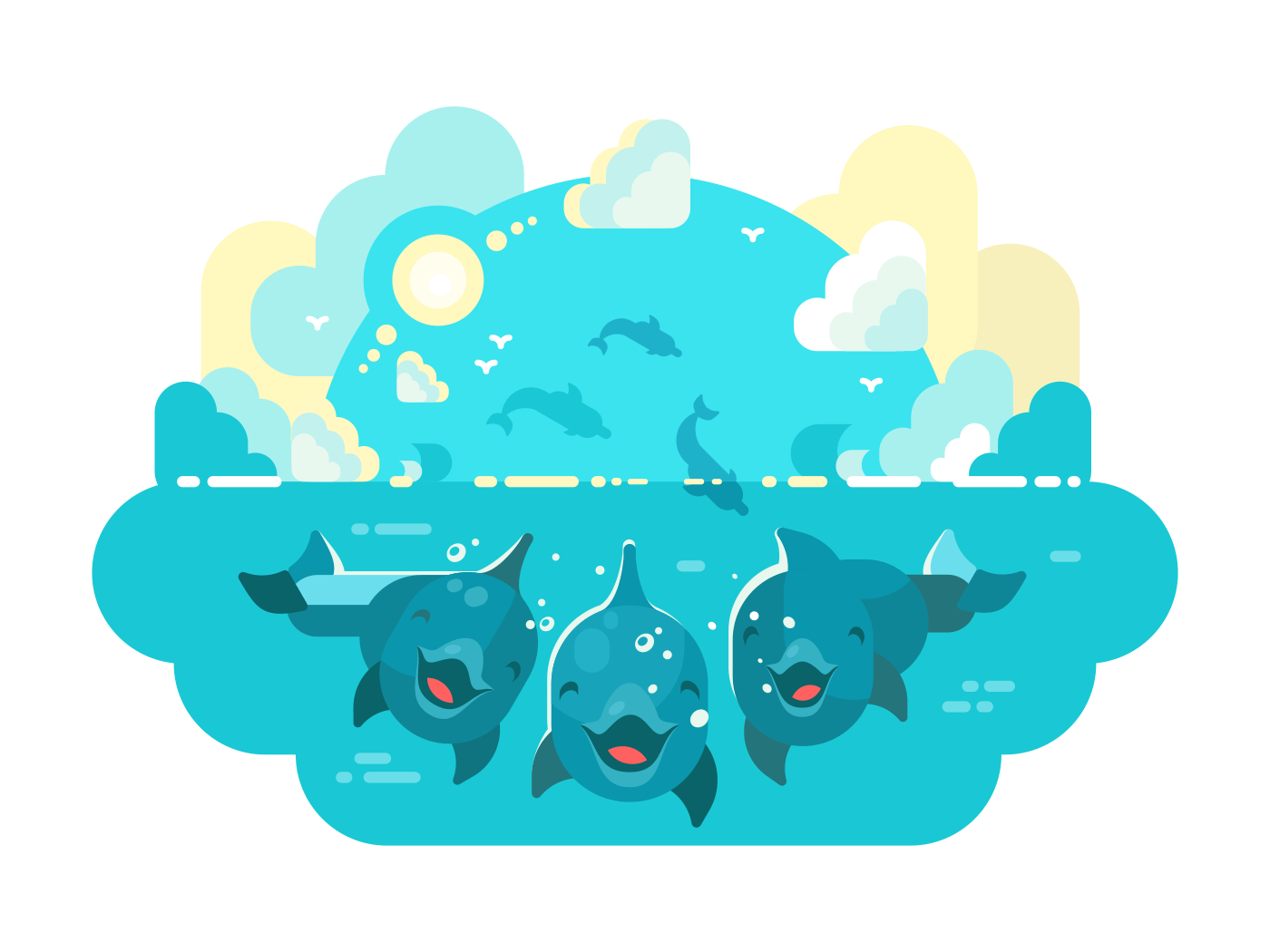 Happy dolphins swim and jump illustration