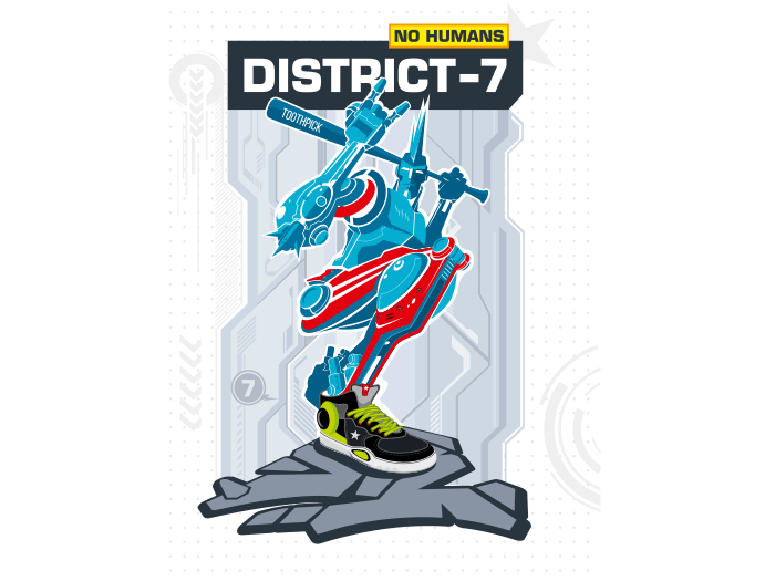 Armed robot from District 7 - vector illustration