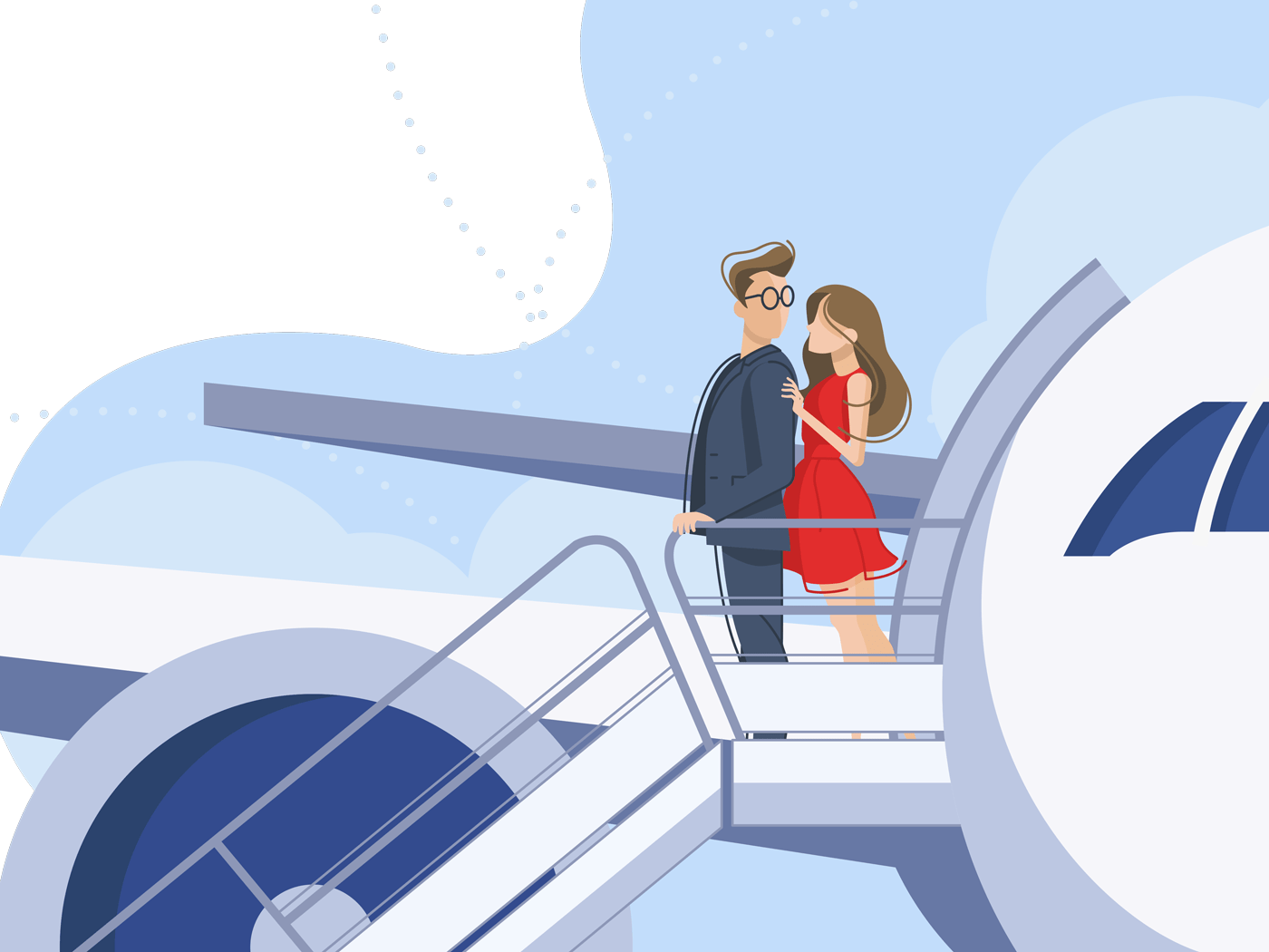Guy and girl go downstairs from plane