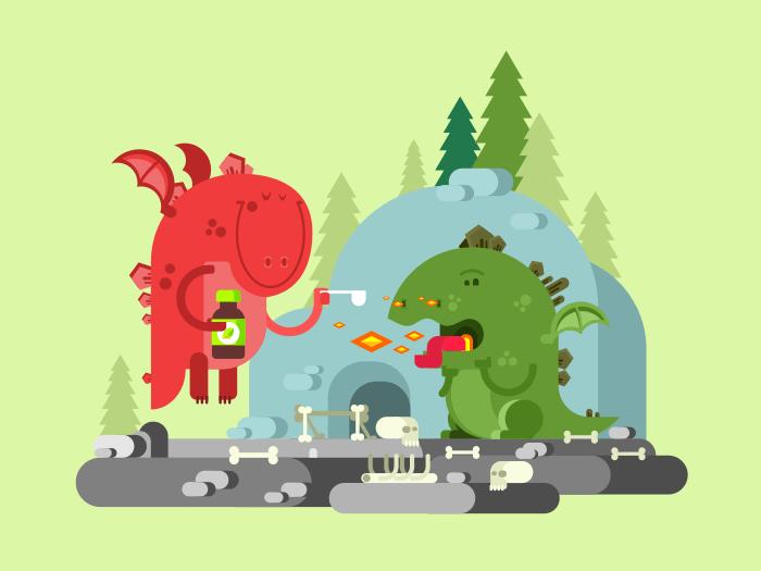Ill dragon character flat vector illustration