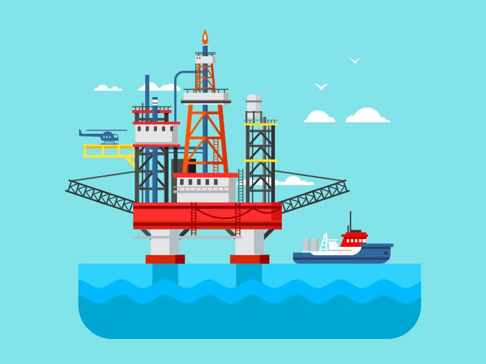 Drilling rig at sea flat vector illustration