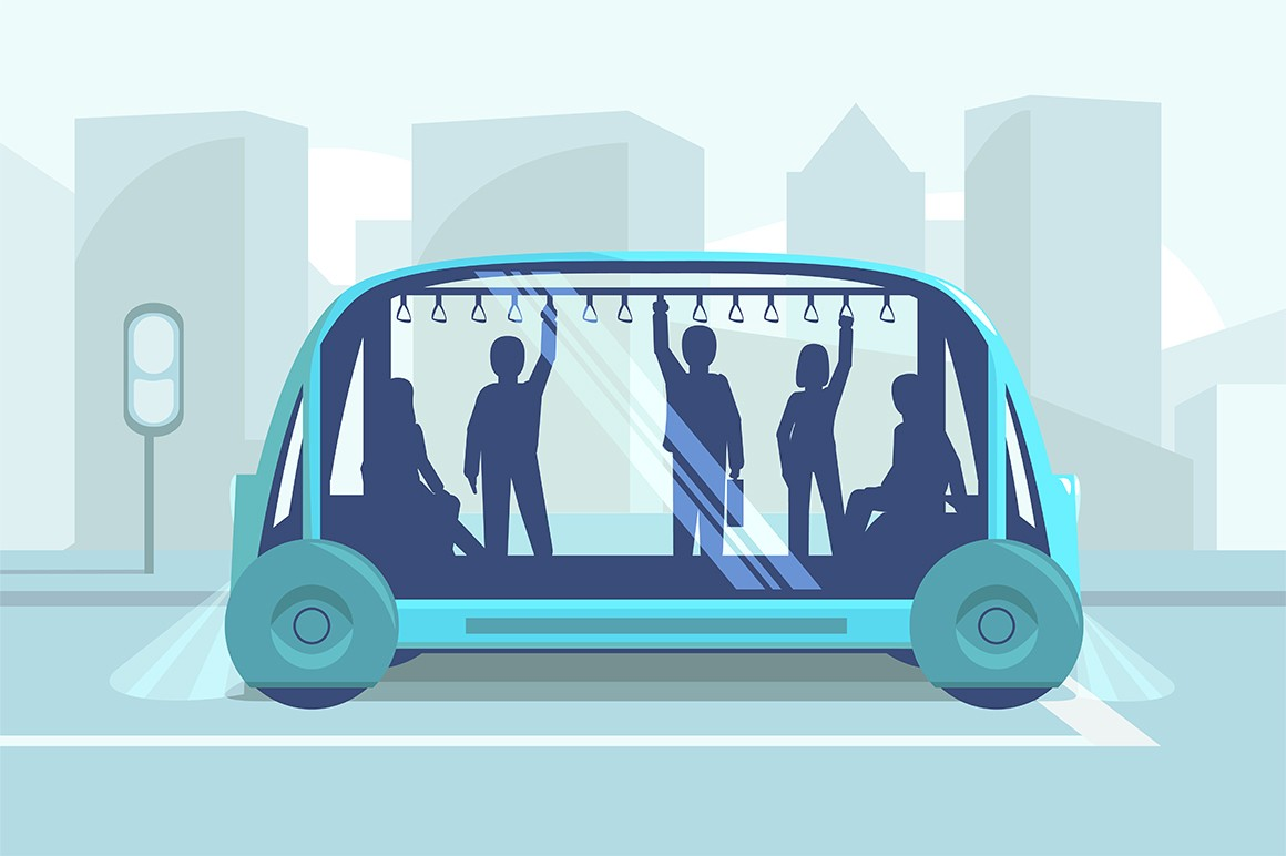 Driverless car technology vector illustration. Smart autonomous public transport. Men and women holding handrails flat style design. Modern transportation tech. City landscape on background