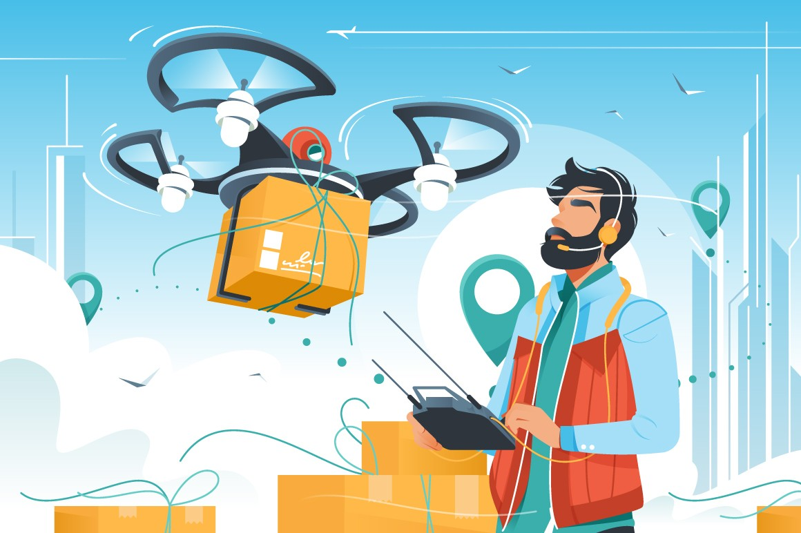 Young handsome man with beard controls drone delivery