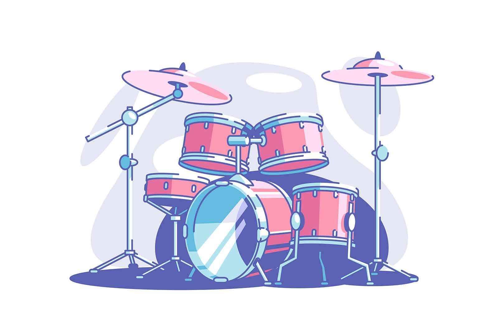 Professional drum set vector illustration. Equipment for band flat style. Musical genre. Performance and concert. Entertainment art and music concept. Isolated on white background