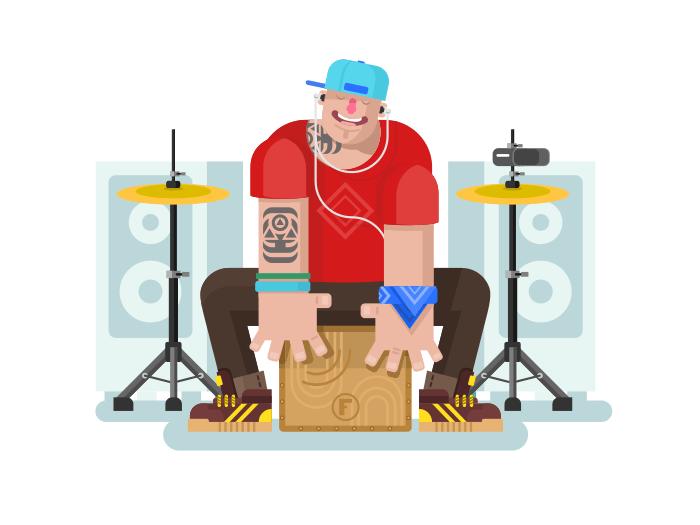 Drummer play on cajon flat vector illustration