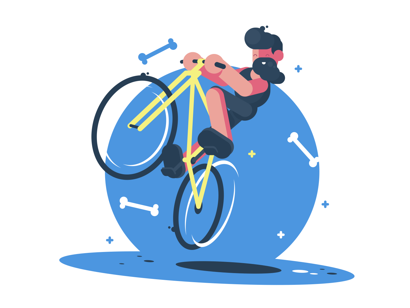 Active dude rides bicycle. Fun sports entertainment. Vector flat illustration