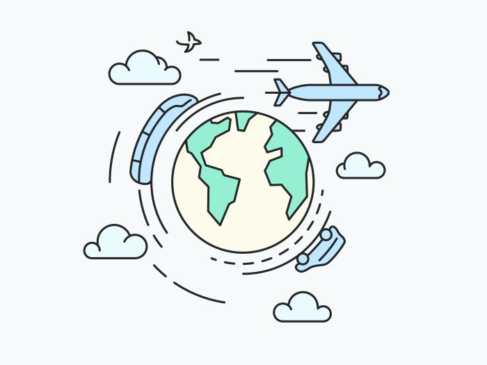 Travel around the earth, transport illustration