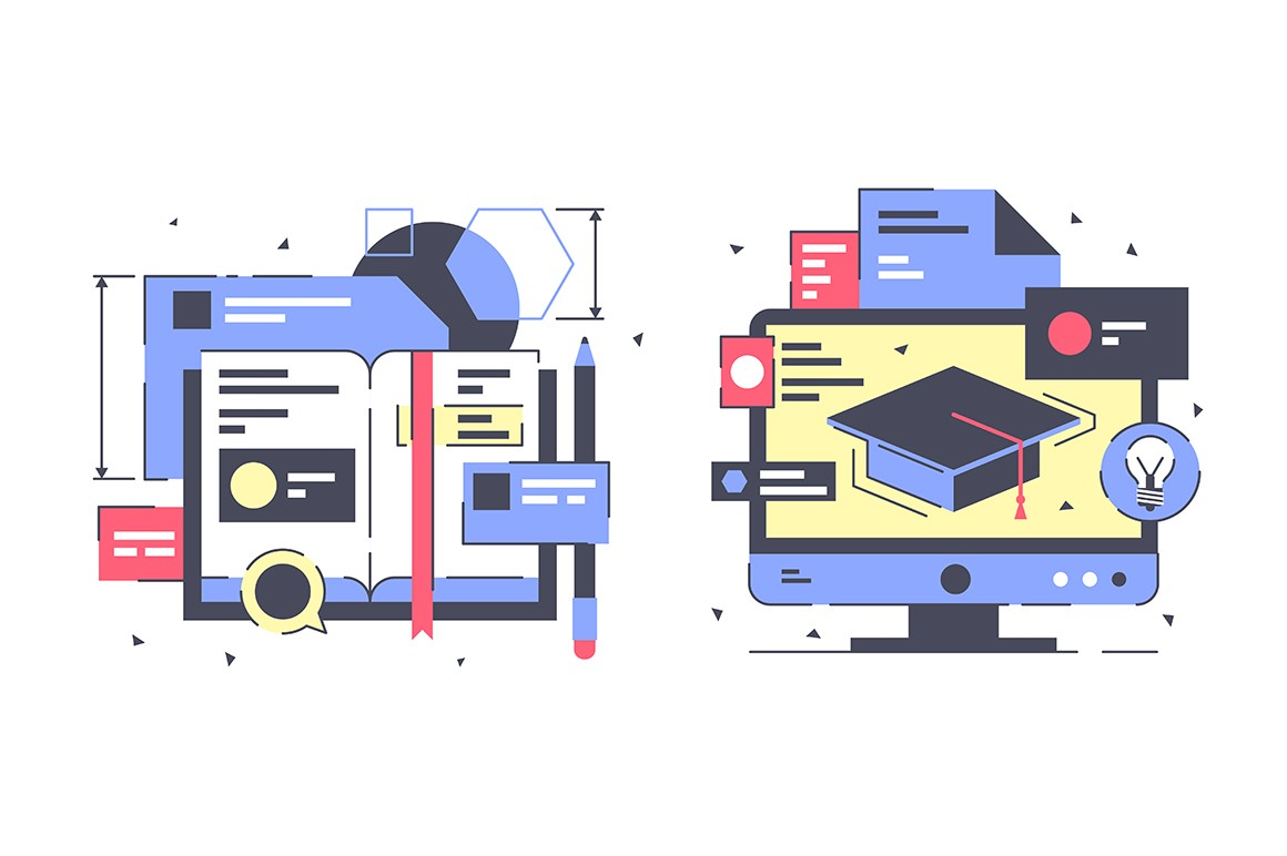 Flat education icon set with modern book, digital service.