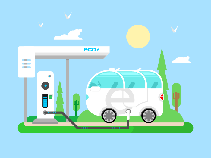 Electric vehicle charging flat vector illustration