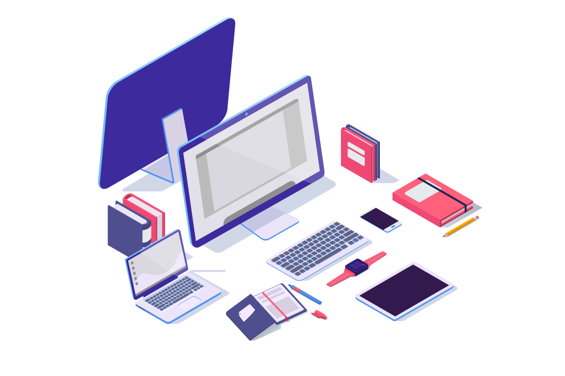 Isometric 3d electronic items with laptop, tablet, notebook, mobile phone and folder.