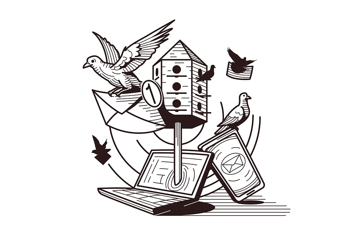 Different type of correspondence vector illustration. Development of letters delivery from pigeon mail to modern email flat concept. Birds with envelopes, laptop, smartphone in black and white colours