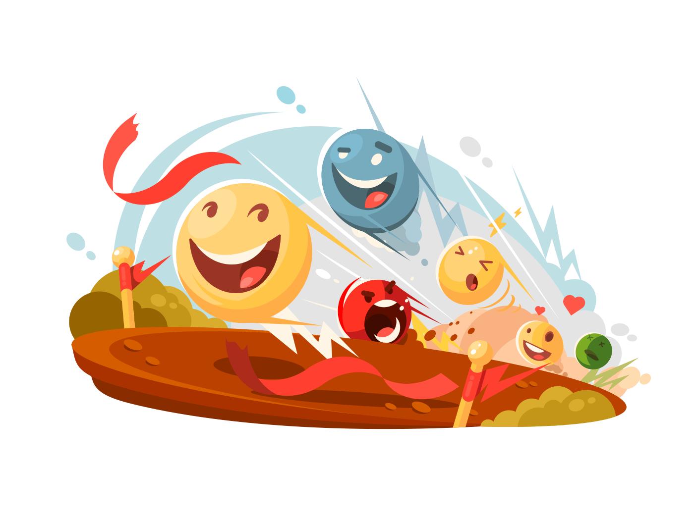 Funny emotional smileys in race illustration