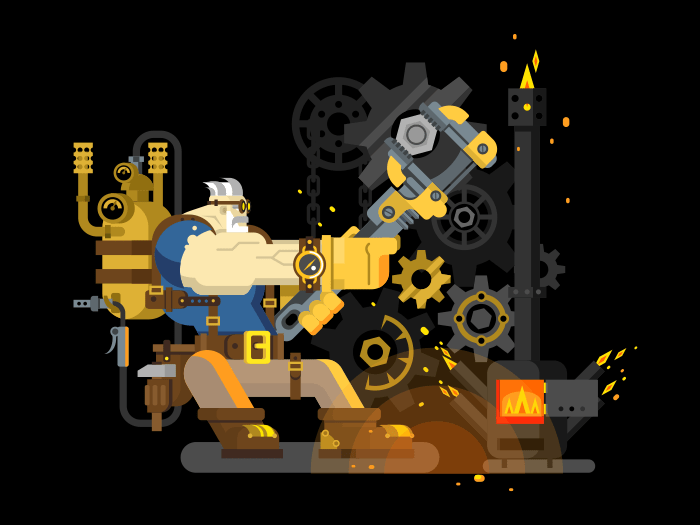 Steam engineer flat vector illustration
