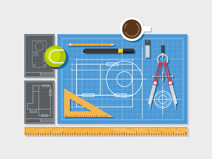 Blueprint with ruler and compass flat illustration
