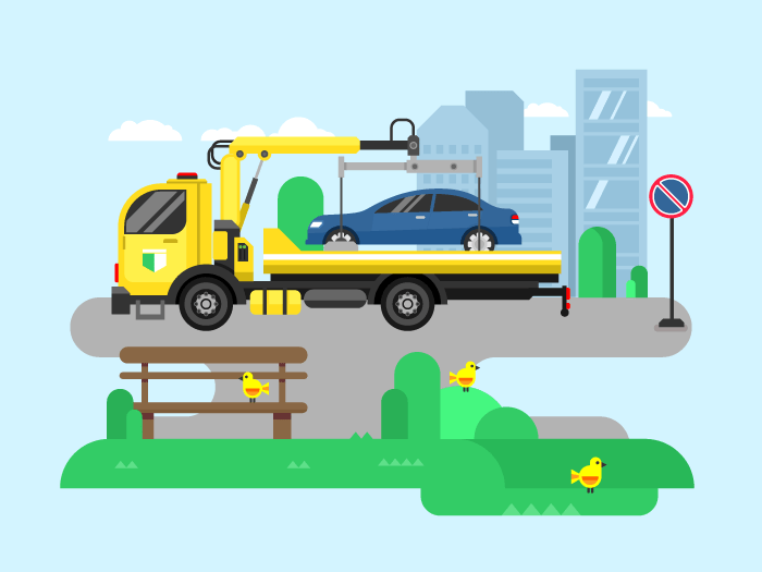 Car evacuator flat vector illustration