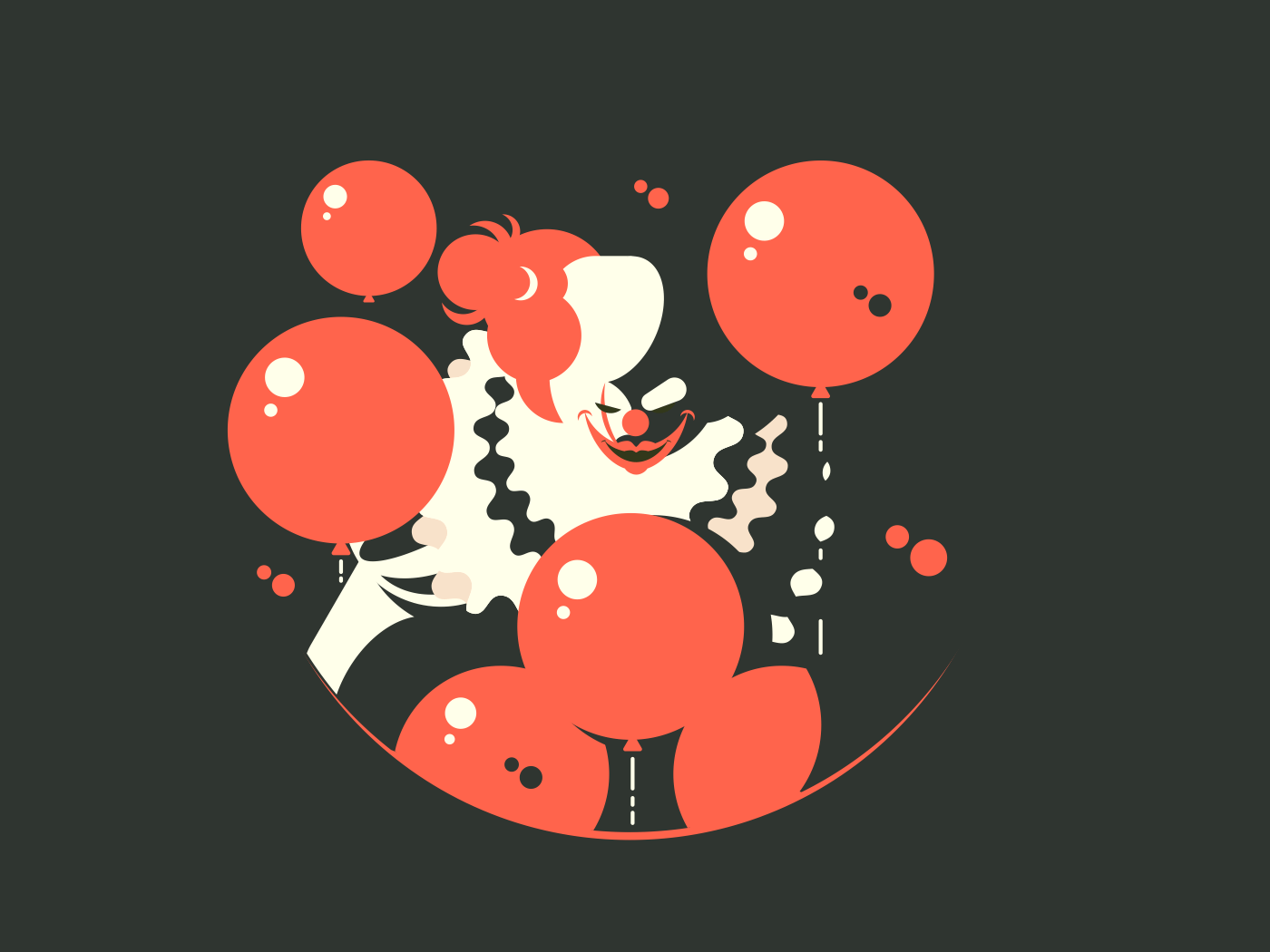 Evil clown character. Upset and depressed awful. Vector flat illustration