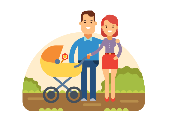 Happy Young Family flat vector illustration