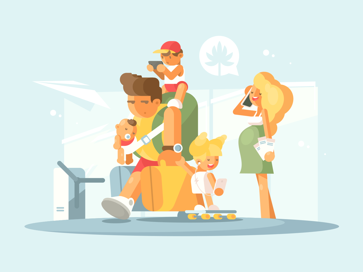 Young family at airport illustration