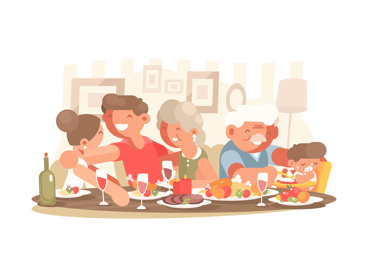 Happy family at dinner table. Father and mother, grandparents with grandson. Vector illustration