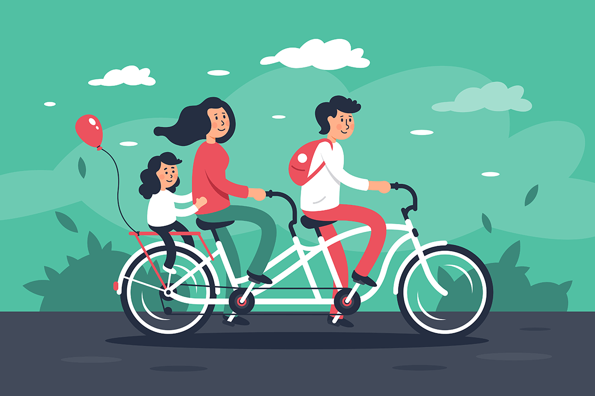 Family with young woman, man with bags, child girl riding a bike.