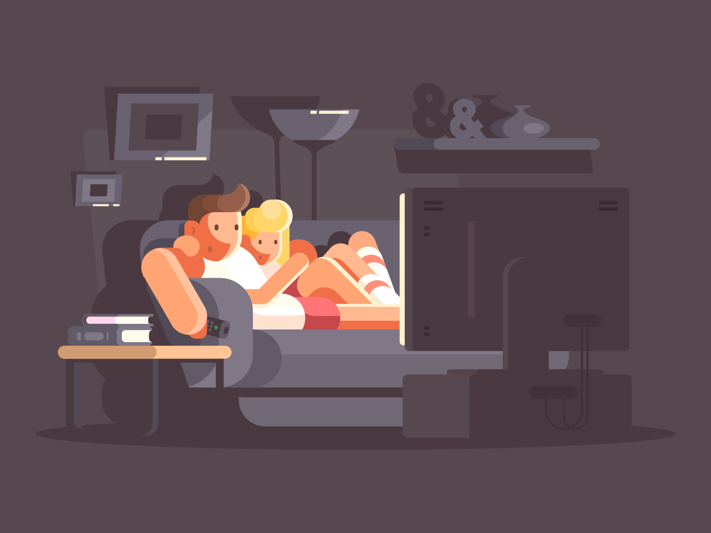 Married couple watching TV on sofa in room. Vector illustration