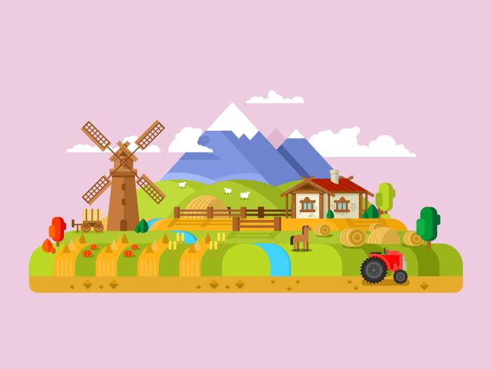 House in village, farm flat vector illustration