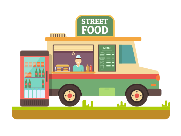 Fast food van flat illustration