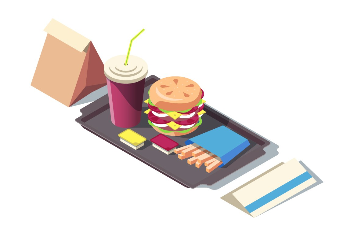 Fast food of soda, burger, french fries on tray