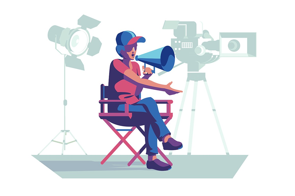Film director at workplace vector illustration. Man sitting on chair and leading filming process. Guy speaking via loudspeaker flat style concept. Floodlight and videocamera on background